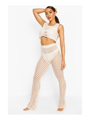 Boohoo Knitted Cut Out Crop Pants Beach Two-Piece