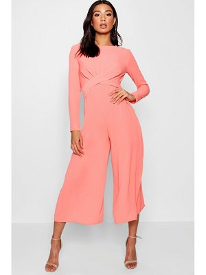 Boohoo Knot Front Woven Culotte Jumpsuit