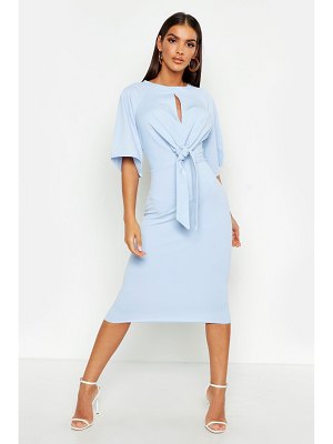 Boohoo Knot Front Detail Wrap Midi Dress