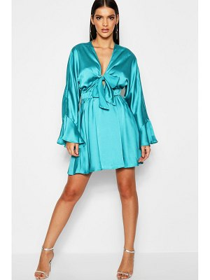 Boohoo Krista Knot Front Fluted Skater Dress
