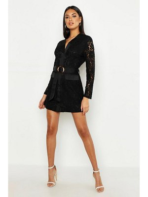 Boohoo Lace Belted Wrap Dress