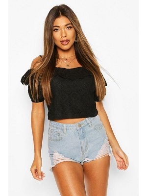Boohoo Lace Cold Shoulder Puff Sleeve Crop Top