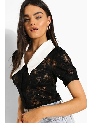 Boohoo Lace Contrast Collar Blouse