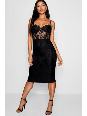 Boohoo Lace Cup Detail Midi Dress