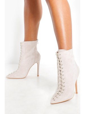Boohoo Lace Front Pointed Shoe Boots