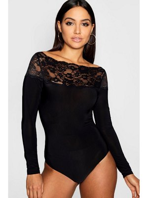 Boohoo Lace Trim Long Sleeve Body