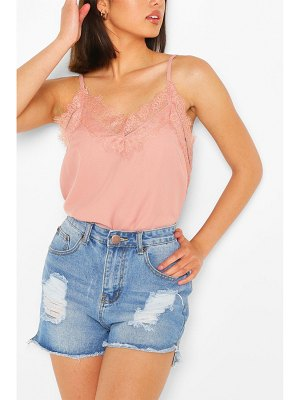 Boohoo Lace Trim Woven Cami