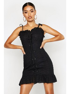 Boohoo Lace Up Broderie Anglaise Dress