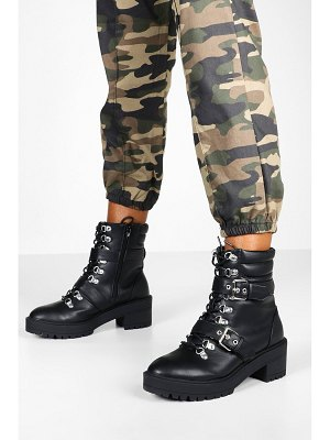 Boohoo Lace Up Chunky Hiker Boots