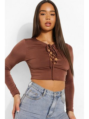 Boohoo Lace Up Long Sleeve Top