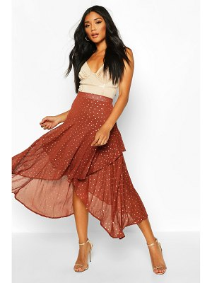 Boohoo Layered Metallic Polka Dot Midi Skirt