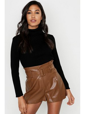 Boohoo Leather Look Belted Shorts