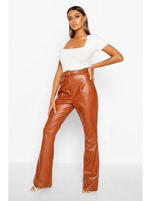 Boohoo Leather Look Flared Trouser