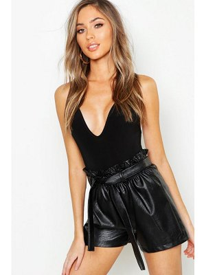 Boohoo Leather Look Paperbag Shorts