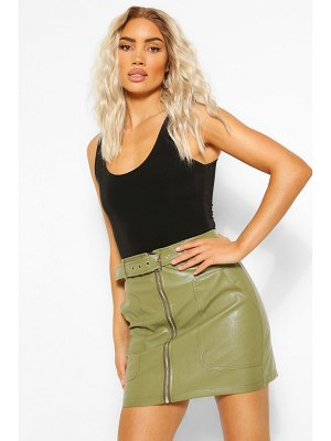 Boohoo Leather Look Pocket Detail Belted Skirt