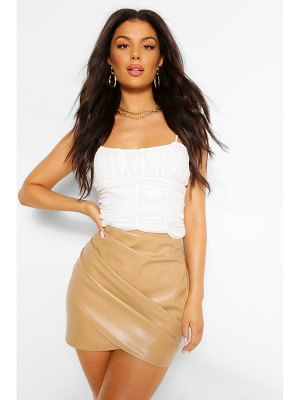 Boohoo Leather Look Ruched Wrap Mini