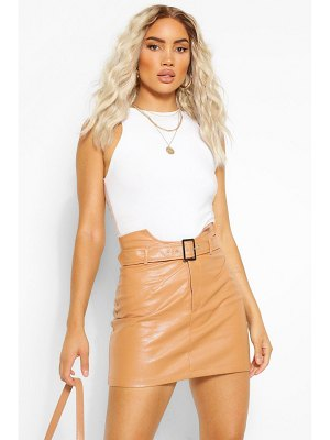 Boohoo Leather Look Waist Detail Belted Skirt