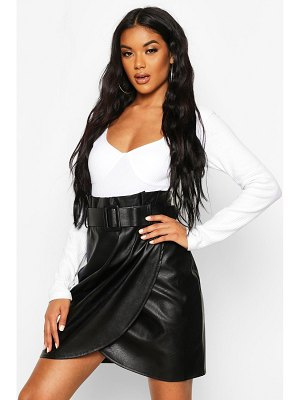 Boohoo Leather Look Wrap Front Mini Skirt