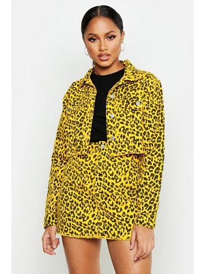 Boohoo Leopard Denim Cropped Jacket