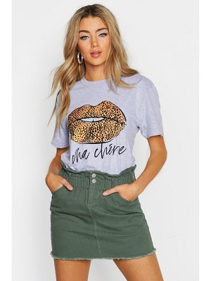 Boohoo Leopard French Slogan Lips T-Shirt