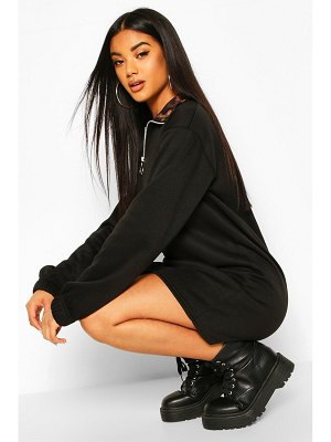 Boohoo Leopard Funnel Neck Sweat Dress