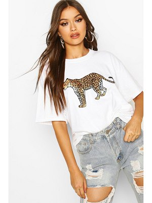 Boohoo Leopard Graphic Oversized T-Shirt