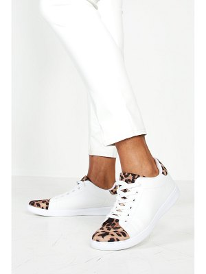 Boohoo Leopard Panel Basic Lace Up Sneakers