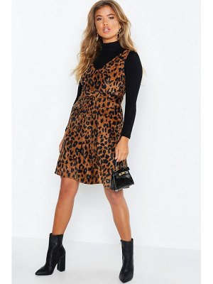 Boohoo Leopard Print Cord V Neck Pocket Detail Belted Mini Dress