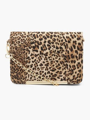 Boohoo Leopard Quilted Cross Body Bag