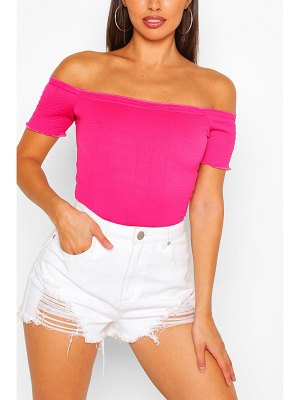 Boohoo Lettuce Hem Off The Shoulder Crop Top