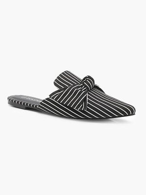 Boohoo Lexi Pinstripe Bow Front Pointed Mules