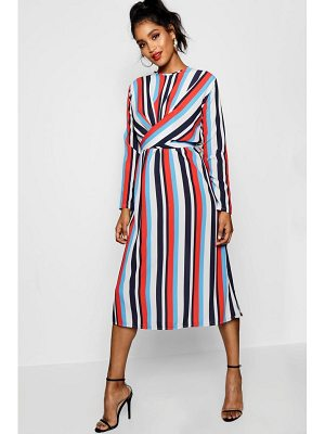 Boohoo Lilly Wrapped Front Striped Midaxi Dress