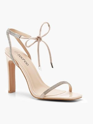 Boohoo Diamante Skinny Strap Barely There Heels