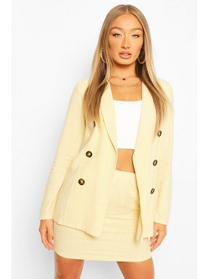 Boohoo Linen Look Double Breasted Blazer