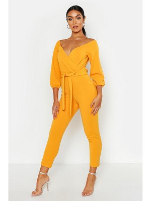 Boohoo Linen Look Off The Shoulder Tapered Leg Jumpsuit