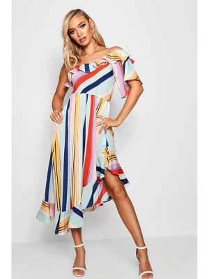 Boohoo Asymmetric Bold Stripe Ruffle Hem Midi Dress