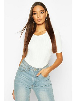 Boohoo Long Cap Sleeve Ribbed Body