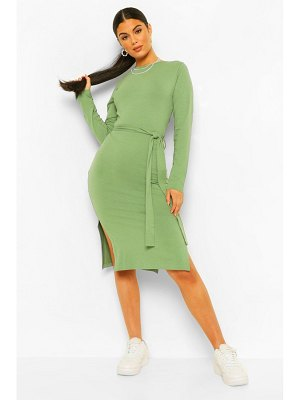Boohoo Long Sleeve Belted Midi Dress