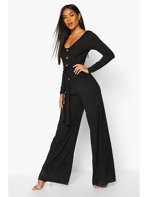 Boohoo Long Sleeve Horn Button Ribbed Tie Jumpsuit