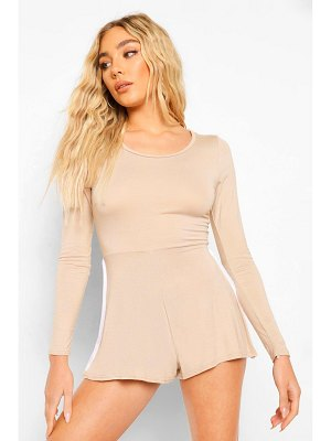 Boohoo Long Sleeve Side Stripe Casual Romper