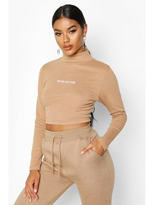 Boohoo Long Sleeve Slogan High Neck Rib Crop