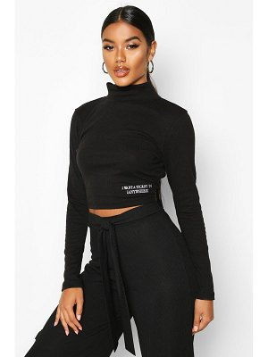Boohoo Long Sleeve Small Slogan High Neck Crop