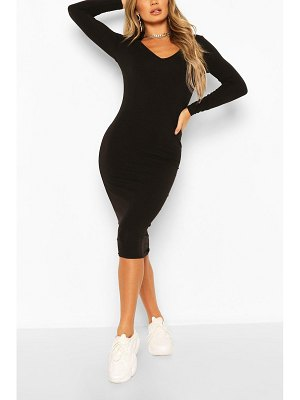 Boohoo Long Sleeve V Neck Bodycon Dress