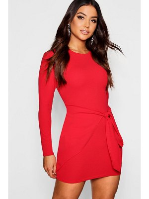 Boohoo Long Sleeved Tie Detail Wrap Bodycon Dress