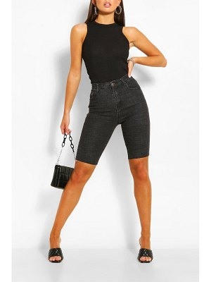 Boohoo Longline Washed Denim Short