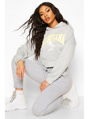Boohoo Louisiana Slogan Crop Hoody