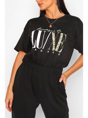 Boohoo Luxe Animal Slogan T- Shirt