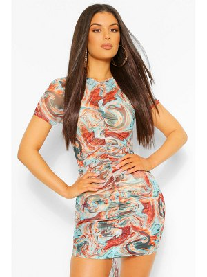 Boohoo Marble Print Ruched Front Mesh Bodycon Dress