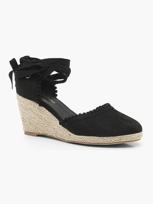 Boohoo Megan Pom Trim Mid Wrap Strap Wedges