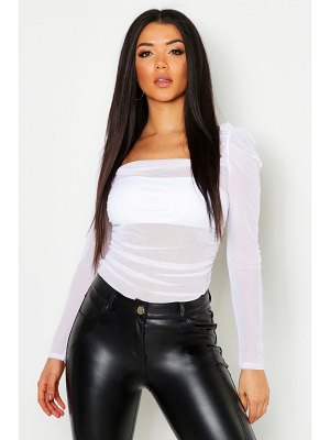 Boohoo Mesh Gathered Detail Peasant Top